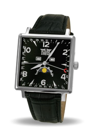 Davis-Mens watch Square Classic Triple Moon Phase Quantième with Black Leather Strap