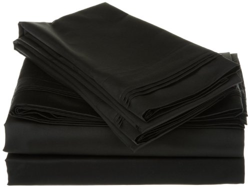 Egyptian Cotton 800 Thread Count Oversized Queen Sheet Set Solid, Black front-610702