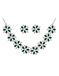 Green Marquise Designer Set In CZ Crystal Diamonds With Silver Plated By Sempre Of London