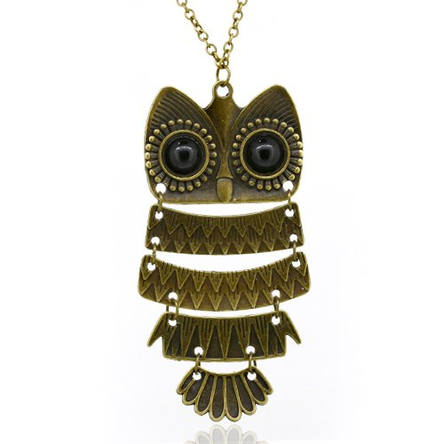Women's Vintage Bronze Owl Pendant Long Chain