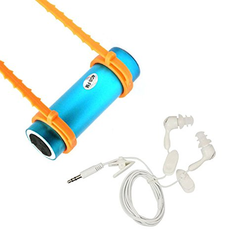 Niceroker(Tm) Blue Waterproof Mp3/Fm Stereo 4Gb Swimmer Player For Surfing Silver + Waterproof Headset