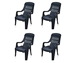 @home by Nilkamal Weekender Garden Set of 4 Chair (Black)
