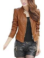 Veste à manches longues et col roulé pour femme en simili cuir tendance