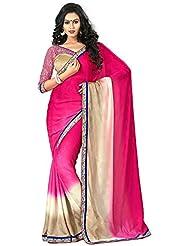 AG Lifestyle Women's Brocade Saree(DVY4010, Pink & Beige)