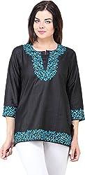 Vedanta Women's Regular Fit Cotton Kurta (KICTSSRN051B-BLACK-L, BLACK, Large)