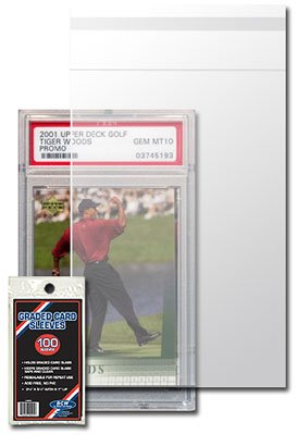 BCW Resealable Graded Card Sleeve - 3 3/4 X 5 1/2 - (5 Pack) Baseball, Football, Basketball, Hockey, Golf, Single Sports Cards Top Load - Sportcards Card Collecting Supplies