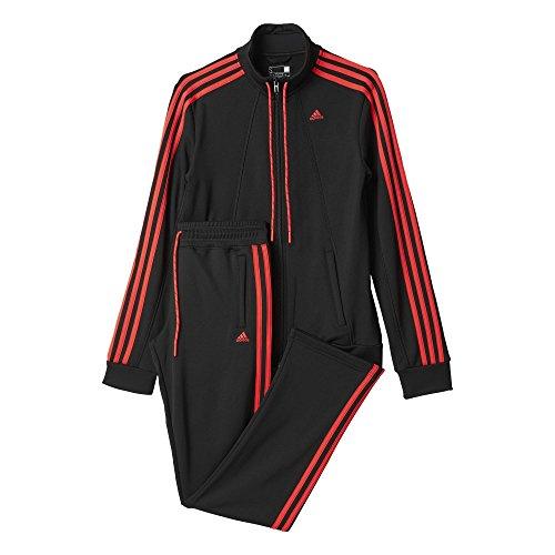 Adidas Ess 3S Suit Tuta per Donna, Nero/Rosso (Nero/Rojimp), XL