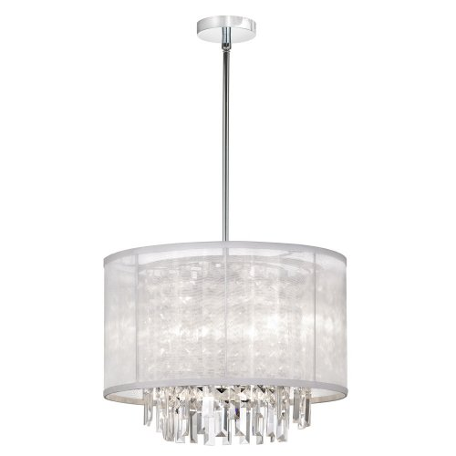 Dainolite 15123-119 3-Light Crystal Pendant with White Organza Shade, Polished Chrome/Crystal/Organza