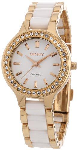 DKNY  NY8141 - Reloj de cuarzo con correa de acero inoxidable para mujer, color blanco