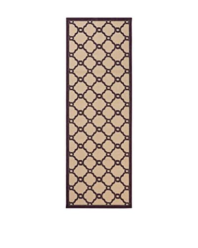 Tapis a Porter Alfombra Veranda Beige/Vino 80 x 230 cm