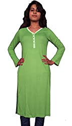 Miraaya Women's Cotton Hosiery Kurti (M2432D_78227_P.Green_Large)