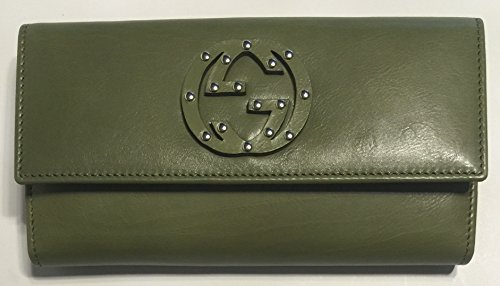 Gucci 231843 Washed Softcalf Green Tea Leather Continental Wallet Clutch