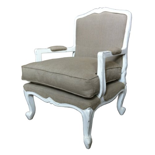 Shabby Chic Style Beautiful hand carved French Armchair Lounge Furniture in white Distressed finish. Upholstery in Natural Linen with extra cushion.
