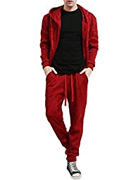 NE PEOPLE Mens Knited Fleece Tracksuit with Hoodie and Jogger Pants[RED-M]