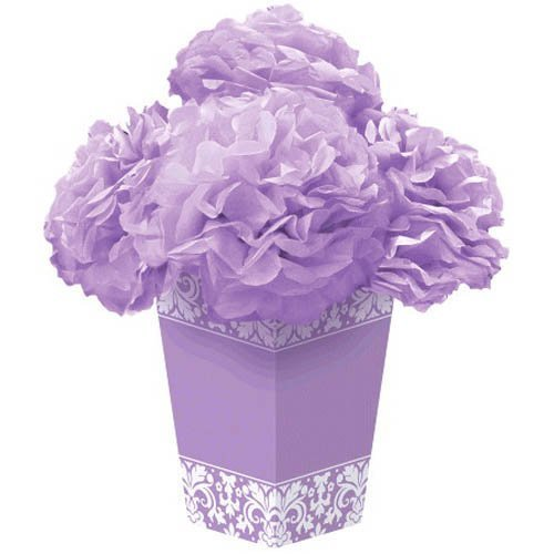 Amscan Lovely Damask Fluffy Flower Party Centerpiece, Lilac