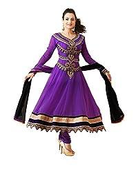 Lookslady Women's Georgette Semi Stitched Salwar Kameez Suit (5000074332_Purple)