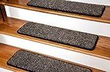 ディーン プレミアム 階段用グリッパー テープフリー 滑り止め ペットフレンドリー DIY カーペット 階段用マット 76 × 23センチ (30 × 9インチ) 15枚 - ブラック & ベージュツイード (並行輸入)