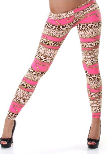 PF-Fashion Damen Leggins Leggings Leo-Ketten-Print - 38-40 Pink