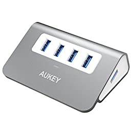 AUKEY USB Hub with 4 USB 3.0 Ports for Data Transfer, Desktop Aluminum Hub for Mac, Windows, and Other Laptops