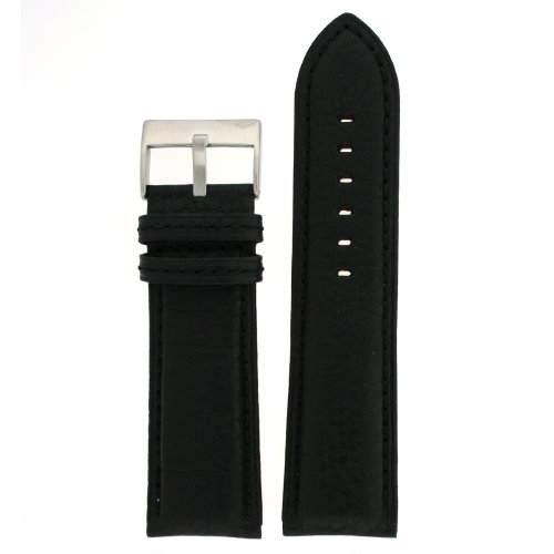 Extra Wide XL Watch Band Genuine Leather Calfskin Black 28 millimeters Tech Swiss