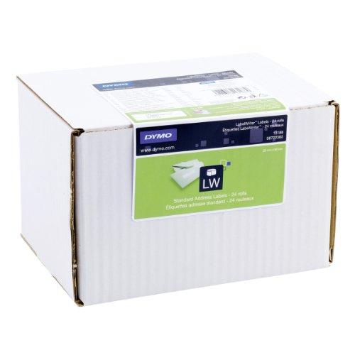Dymo LabelWriter Étiquettes d'Adresse Standard Adhésif Permanent 28x89 mm - 24 Rouleaux de 130 étiquettes