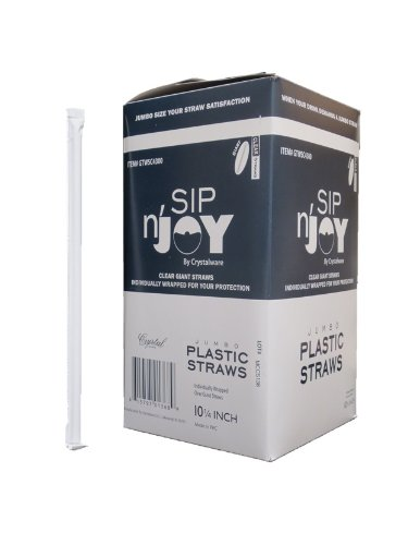 Crystalware Plastic Giant  Straws Individually Wrapped 10-1/