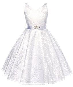 DressForLess Lovely Lace V-Neck Flower Girl Dress