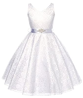 DressForLess Lovely Lace V-Neck Flower Girl Dress