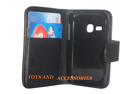 FOR SAMSUNG GALAXY YOUNG S6310 BLACK FLIP PU LEATHER WALLET BOOK WITH CARD HOLDER CASE COVER POUCH