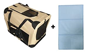 """Portable Soft Dog Crate with Self Cooling Dog Gel Pad, Beige, 5"""" x 16.5"""" x 16.5"""""""
