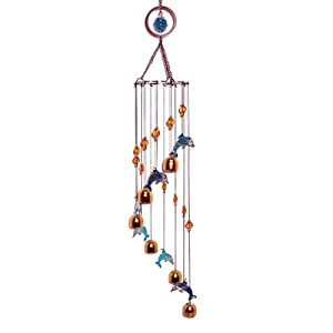 "Dolphin Brass Metal Bell Wind Chime 33""L"