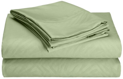 Hotel New York Embossed Zebra 95 Gsm 4-Piece Microfiber Sheet Set, Queen, Sage front-1041767