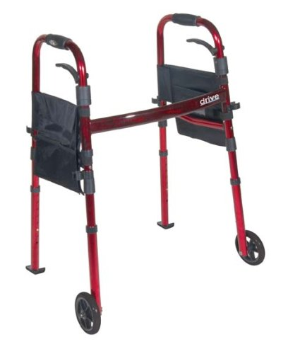 Medical Walkers Aluminum Red Deluxe Portable Folding Travel Walker w/ 5