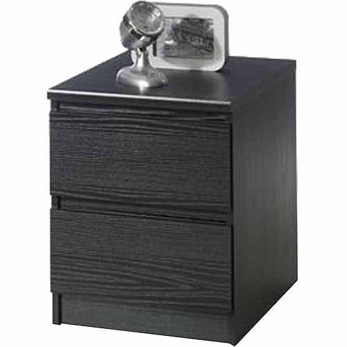 Black Wood Nightstand Table With 2 Drawers front-838397