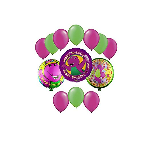 Barney & Friends Birthday Mylar and Latex Balloons Bouquet (13 Pcs) by Anagram