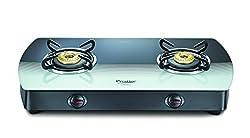 Prestige Premia Glass 2 Burner Gas Stove, Black/White