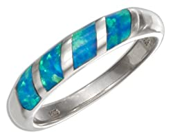 Sterling Silver Lab Created Blue Opal Inlay Band Ring