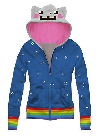 Amazon.com: Nyan Cat Trompe Meow Juniors Blue Costume Zip Up