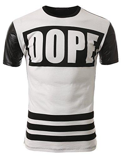 J.Tomson Mens Short Sleeve Hip-Hop Faux Leather Trim T-Shirt Whiteblk Large