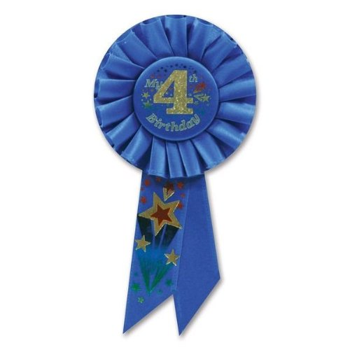 Beistle RS054B My 4th Birthday Rosette, 3-1/4-Inch by 6-1/2-Inch