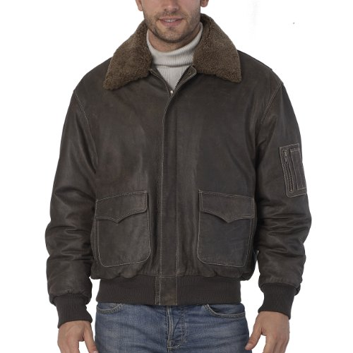 Landing Leathers Men's Cowhide Leather Flight Bomber Jacket with Removable Shearling Fur Trim - Bordeaux X-Large