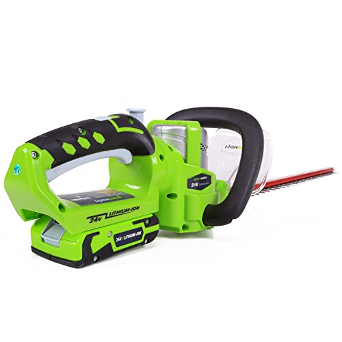 greenworks 22232 g 24 li ion 22 inch cordless hedge trimmer with 2ah battery and charger. Black Bedroom Furniture Sets. Home Design Ideas