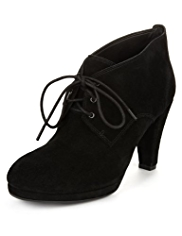 Footglove™ Suede Wide Fit Lace Up Platform Shoe Boots