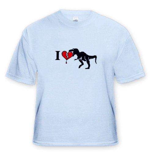 Dinosaur Eats Heart - Youth Light-Blue-T-Shirt Med(10-12)