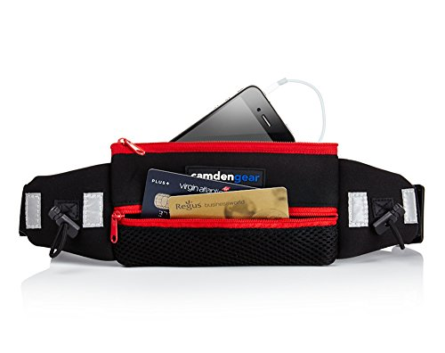 Running Belt By Camden Gear. Red Runners Waist Pack For Men And Women. Double Pouch With Reflective Tabs For Large Cell Phone, Keys Or Credit Card Storage. Take Your Iphone 5S, Samsung Galaxy S4, S5 Or Htc One Smartphone With Case. Waterproof With A Light