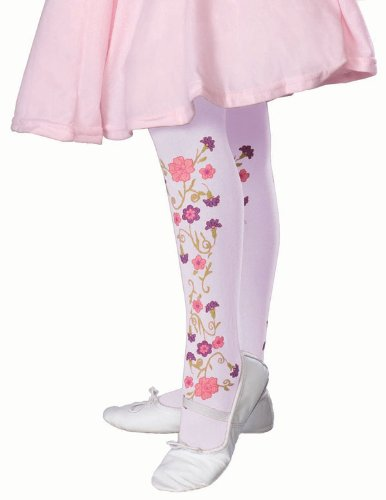Rubie's Costume Co Rose Print Tights-Lavnder Costume, Medium