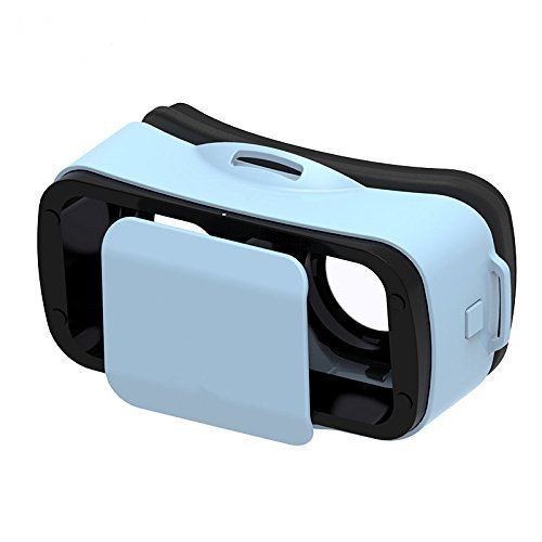 """Yliyaya Mini 3D VR Glasses Portable Light Weight Virtual Reality Headset with Adjustable Pupil and Focal Distance for 4.5"""" - 5.5"""" Smart Phone (Blue)"""