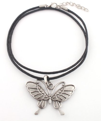 Ladies Silver Butterfly Pendant with a 20 Inch Adjustable Rubber Chord Necklace