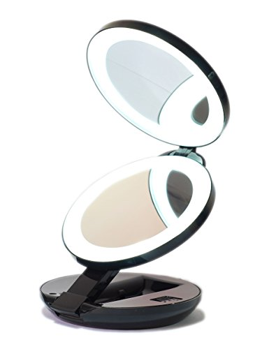 Led Lighted Travel Makeup Magnifying Mirror Magnifies 10x