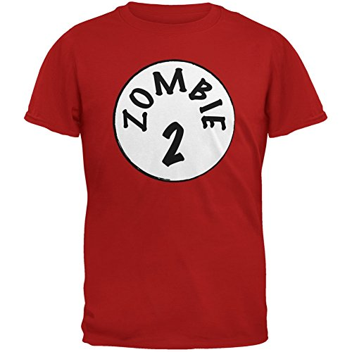 Halloween Zombie 2 Two Costume Red Adult T-Shirt